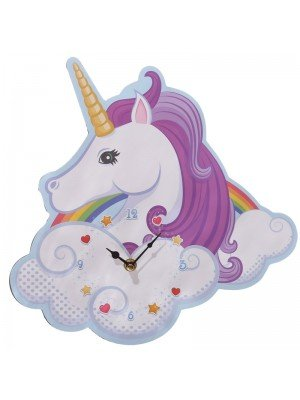 Unicorn Shaped Rainbow Clock - 30cm