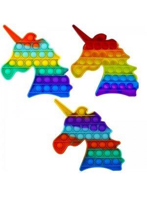 Wholesale Push & Pop Unicorn Rainbow Bubble Fidget Toys - Assorted Colours