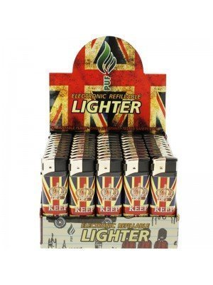Wholesale Union Jack Electronic Refillable Lighter - Keep Calm & Carry On