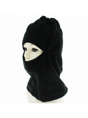 Unisex Fleece 2 in 1 Balaclava and Neck Warmer - Black