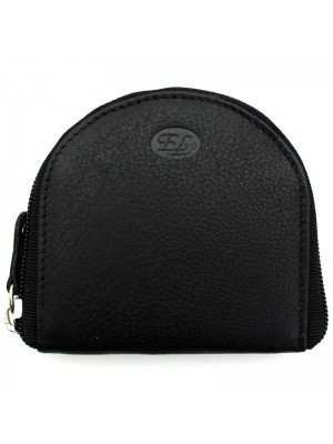 Unisex Florentino Leather Coin Purse - Black