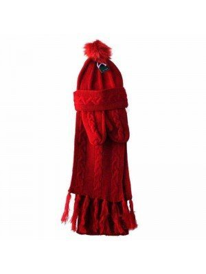 Wholesale Ladies Wooly Thick Knitted Hat Scarf and Mitten Set - Wine Red (One size)