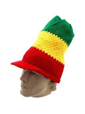 Unisex Long Knitted Peak Hat - Rasta Colours