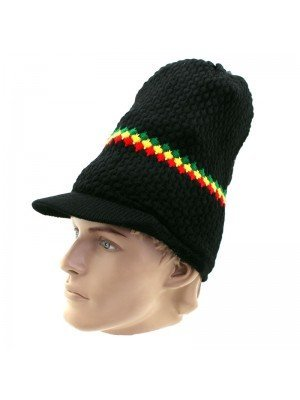 Unisex Long Knitted Striped Rasta Design Peak Hat - Black