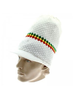 Unisex Long Knitted Striped Rasta Design Peak Hat - White