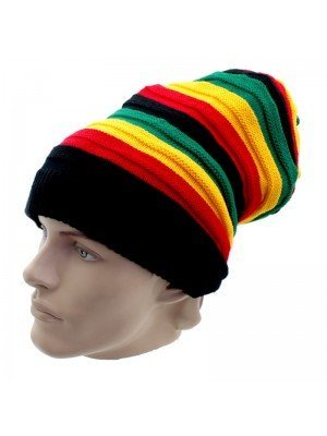 Unisex Long Striped Knitted Hat - Rasta Colours