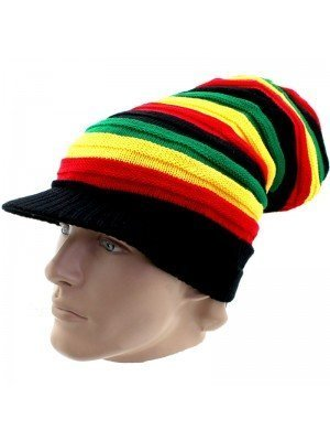 Unisex Long Striped Rasta Colours Knitted Peak Hat