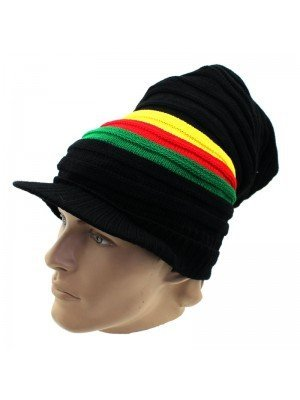 Unisex Long Striped Rasta Colours Knitted Peak Hat - Black