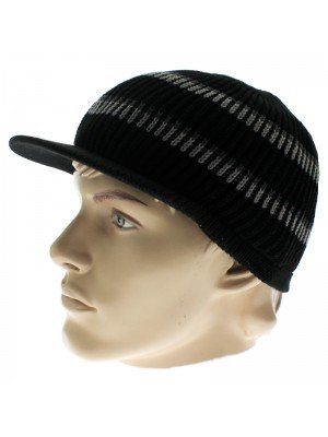 Unisex Peak Hat With Stripes - Black