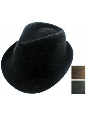 Unisex Tweed Trilby - Assorted Colours & Sizes