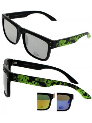 Unisex Wayfarer Shape (Pixel Style Frame) Sunglasses - Assorted Colours