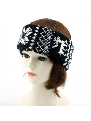 Unisex 2-in-1 Wide Headband & Neck Warmer - Norwegian Pattern