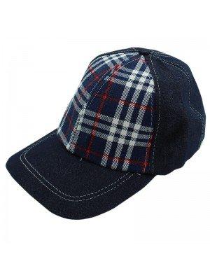 Unisex Denim Tartan Print Baseball Cap - Blue