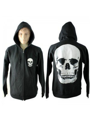 Unisex Hoodie With White Skull Imprint - Black