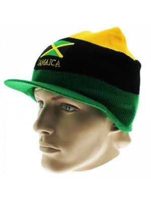Unisex Jamaica Flag & Stripes Peak Hat