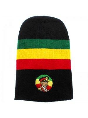 Unisex Knitted Haile Selassie Rasta Long Beanie Hat