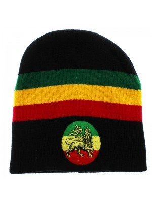 Unisex Knitted Lion of Judah Rasta Beanie Hat