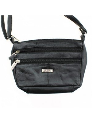 Ladies Leather Shoulder Bag with 3 Zipped Compartments