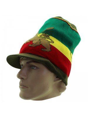 Unisex Lion of Judah & Africa Long Peak Hat - Khaki Green