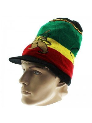 Unisex Lion of Judah Long Rasta Peak Hat - Black
