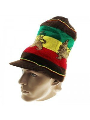 Unisex Lion of Judah Long Rasta Peak Hat - Brown