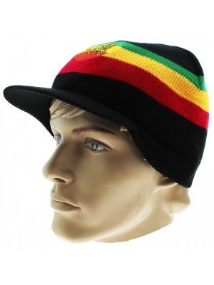 Unisex Lion of Judah Rasta Peak Hat - Black