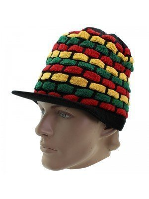 Unisex Long Knitted Rasta Design Peak Hat - Black