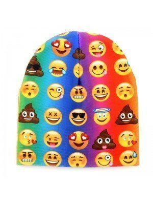 Unisex Multiple Emoji Beanie Hat - Multi-Colour