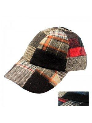 Unisex Patchwork Design Tweed Baseball Cap- Asst. Colours
