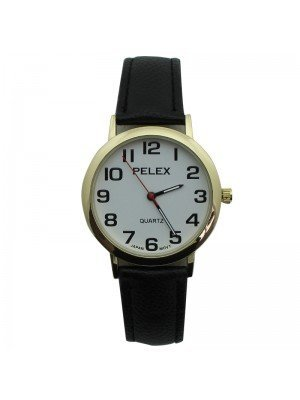 Unisex Pelex Classic Round Dial Leather Strap Watch - Black & Gold