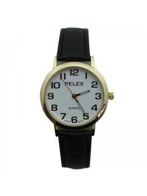 Unisex Pelex Classic Round Dial Leather Strap Watch - Black & Gold
