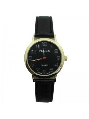 Mens Pelex Classic Round Dial Leather Strap Watch - Black & Gold
