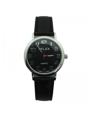 Mens Pelex Classic Round Dial Leather Strap Watch - Black & Silver