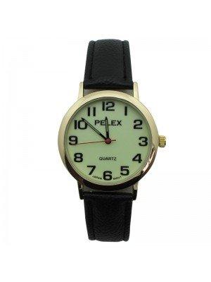 Mens Mens x Pelex Glow in The Dark Leather Strap Watch - Black & Gold