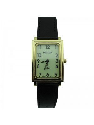 Mens Pelex Glow in The Dark Leather Strap Watch - Black & Gold