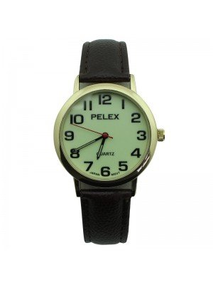 Mens Pelex Glow in The Dark Leather Strap Watch - Brown & Gold