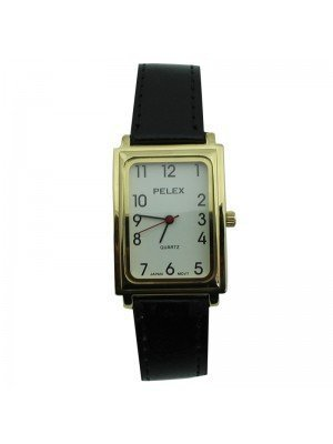 Mens Pelex Rectangular Dial Leather Strap Watch - Black & Gold