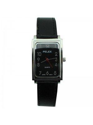 Mens Pelex Rectangular Dial Leather Strap Watch - Black & Silver
