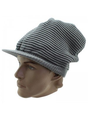 Unisex Plain Knitted Peak Hat - Grey