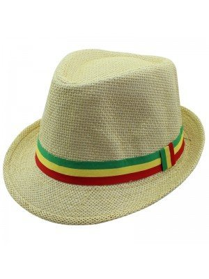 Unisex Straw Trilby Hat with Rasta Coloured Stripe - Beige