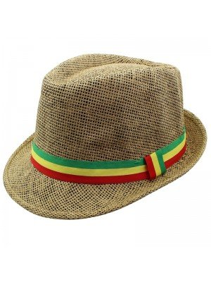 Unisex Straw Trilby Hat with Rasta Coloured Stripe - Brown