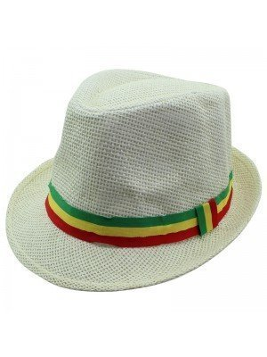 Unisex Straw Trilby Hat with Rasta Coloured Stripe - Cream