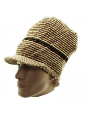 Unisex Striped Long Rasta Peak Hat - Beige