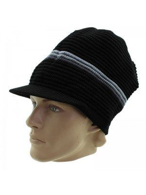 Unisex Striped Long Rasta Peak Hat - Black