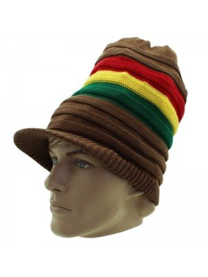 Unisex Striped Long Rasta Peak Hat - Brown