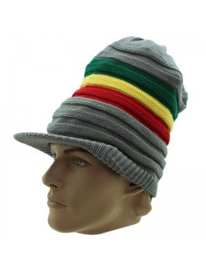 Unisex Striped Long Rasta Peak Hat - Grey