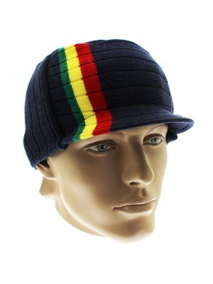 Unisex Striped Rasta Peak Hat - Navy