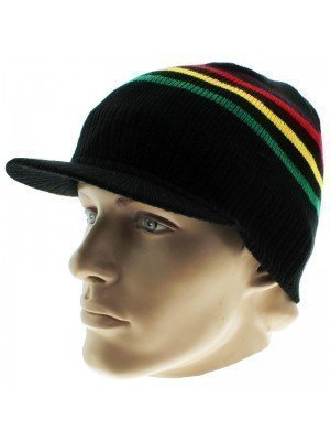Unisex Striped Rasta Peak Hat