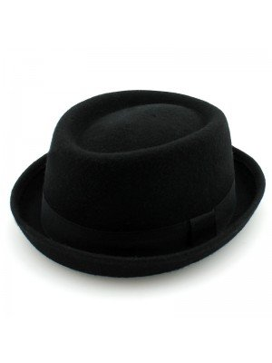 Unisex Wool Felt Pork Pie Trilby - Black (Assorted Sizes)