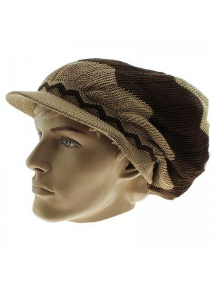 Unisex Zig-Zag Long Rasta Peak Hat - Beige & Brown